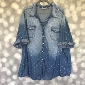 Avenue Polka Dot Denim Button Down Top